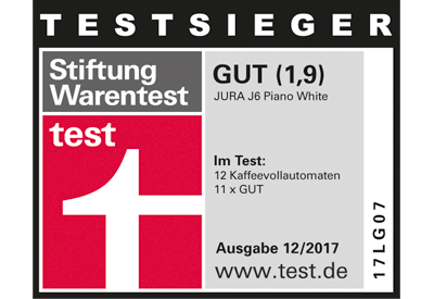 stiftung warentest k rt die jura j6 zum testsieger ce electro. Black Bedroom Furniture Sets. Home Design Ideas