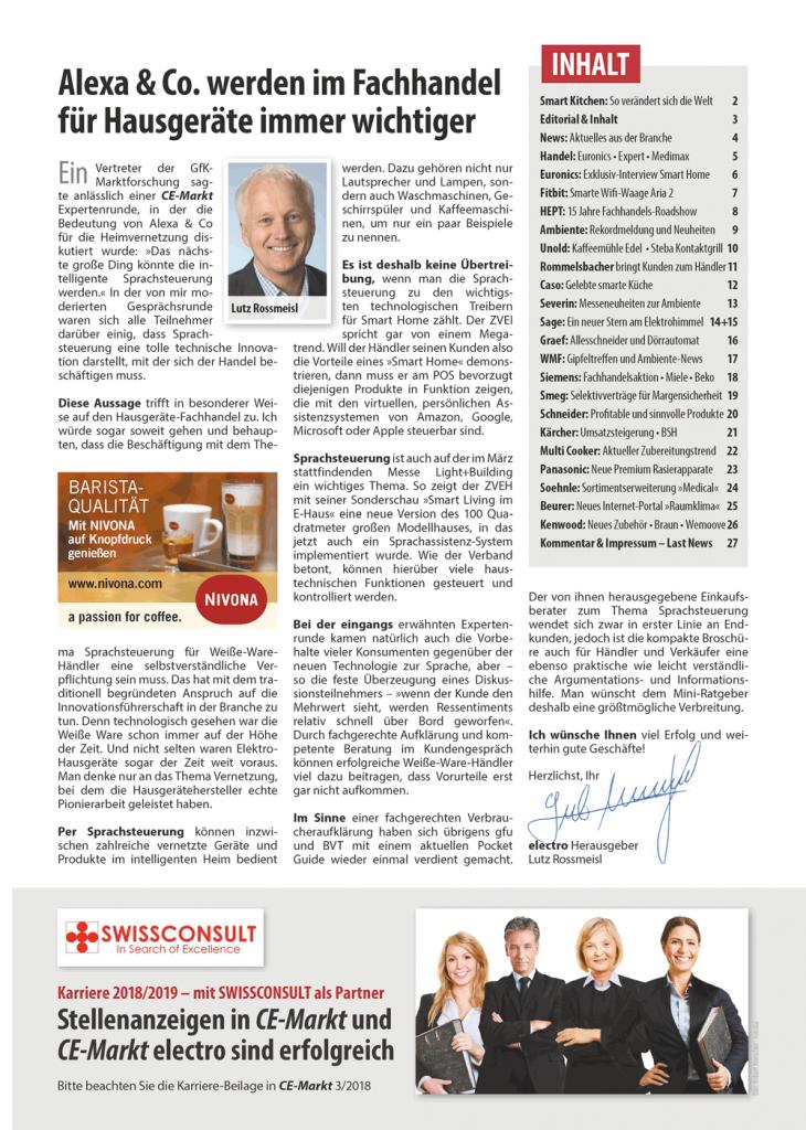 CE-Markt-electro 3/18 Inhaltseite