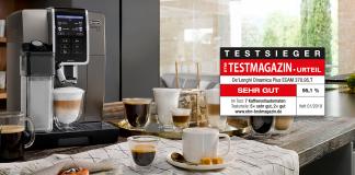 De'Longhi Kaffeevollautomat in der Küche mit Testsiegel. Foto: De'Longhi