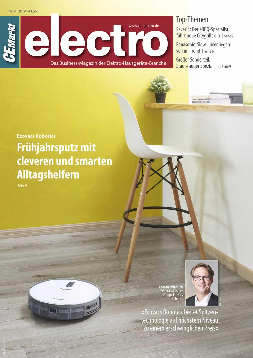 CE-Markt electro Titelseite des Hefts 4/2019.