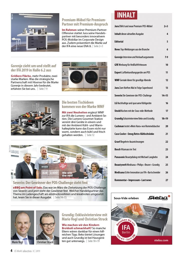 Inhalt CE-Markt electro 8/2019