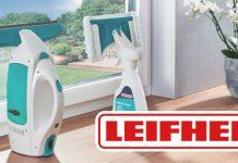 Leifheit Logo und Fenstersauger. Foto: Leifheit