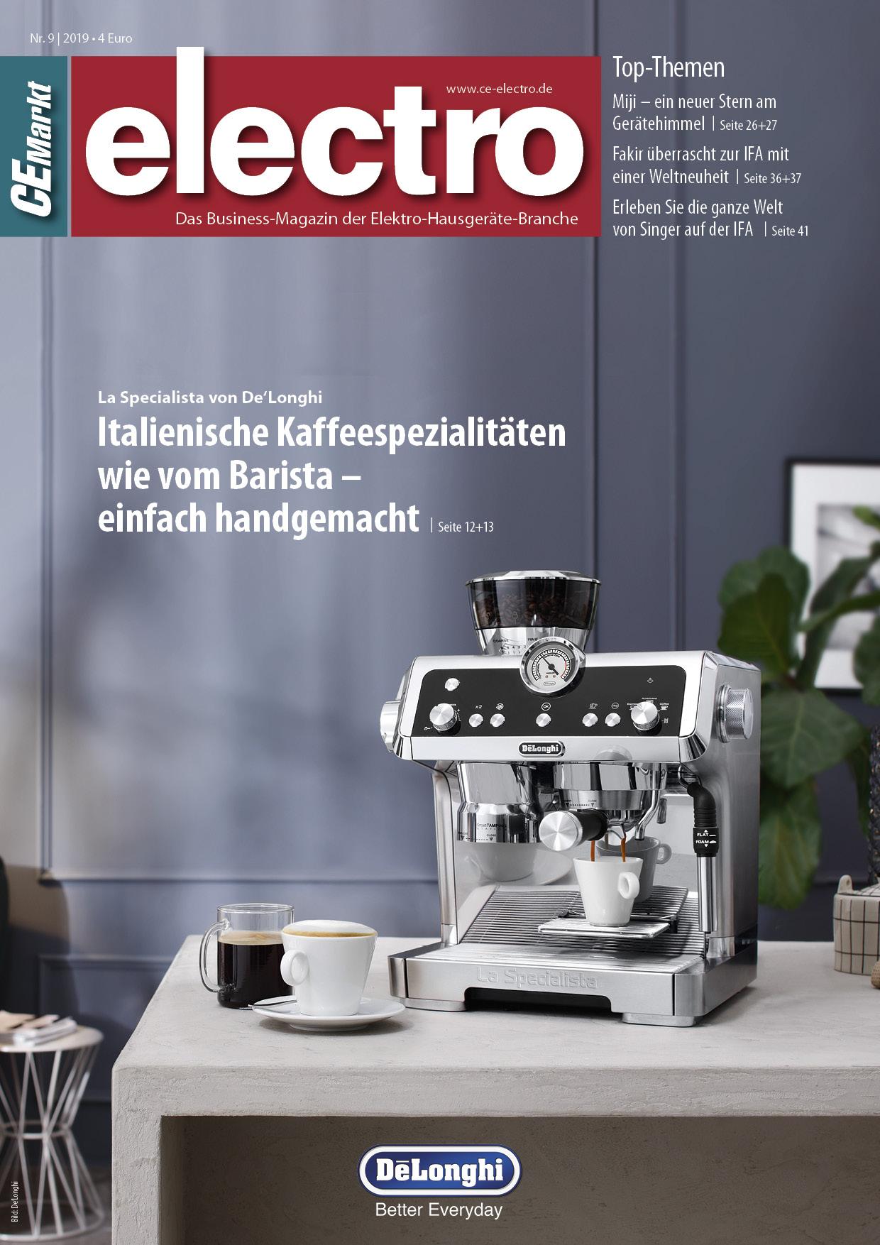 CE-Markt electro Titelseite des Hefts 9/2019.