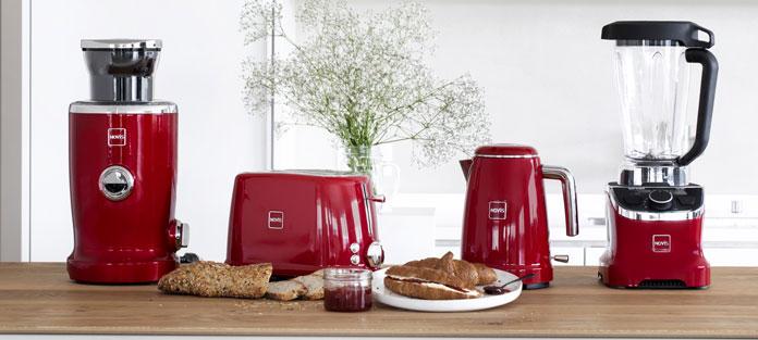 Novis Küchengeräte der Iconic Line in rot. Foto: Novis