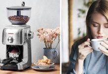Gastroback Kaffeemühle-Advanced und Frau mit Kaffeetasse in den Händen. Fotos: Gastroback