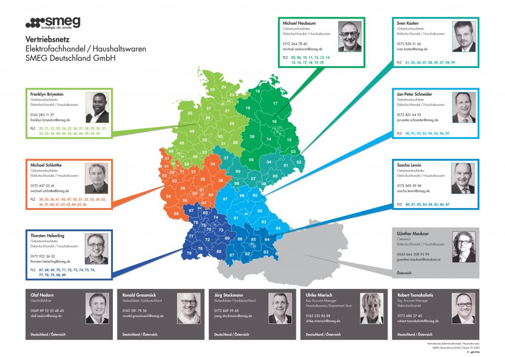 Das Vertriebsnetz von Smeg in Deutschland und Österreich. Foto: Smeg