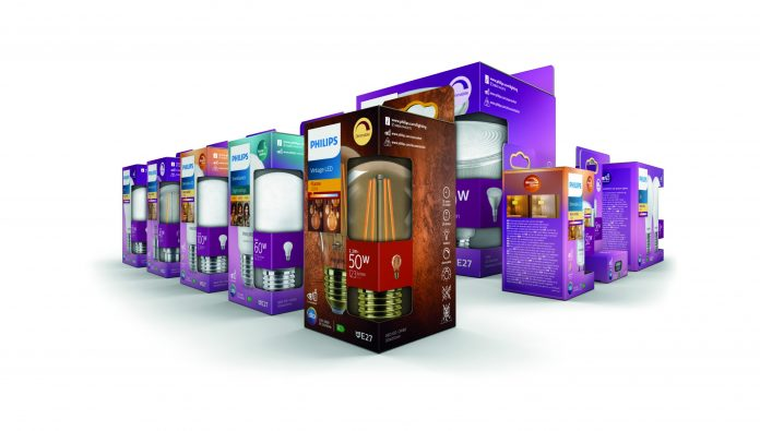 Signify Philips Hue LED Verpackungen. Foto: Signify