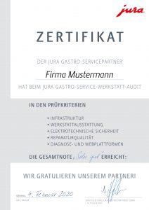 Jura Gastro Service-Audit Zertifikat 2020. Foto: Jura