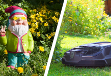 Husqvarna Trends im Garten, links der Zwerg, rechts der Mähroboter. Foto: Husqvarna